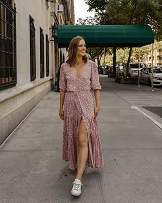 The Drop Women's Blush Pink Floral V-Neck Button Down Tiered Maxi Dress by @charlottebridgeman, S
