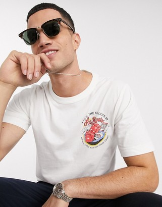 Selected organic cotton The Killers logo brushed cotton t-shirt in white