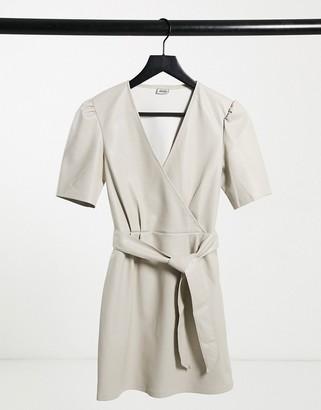 Pimkie faux-leather wrap dress in ecru