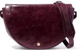 Halston Grace Calf Hair-Paneled Distressed-Leather Shoulder Bag