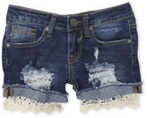 Vigoss Girls 7-16) Edgy Crochet Cuff Denim Shorts