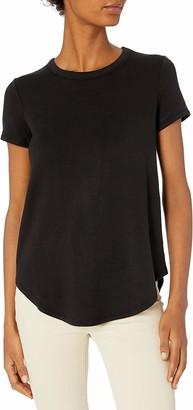 Daily Ritual Amazon Brand Women's Supersoft Terry Short-Sleeve Shirt With Shirttail Hem Black-White Skinny Stripe XX-Large