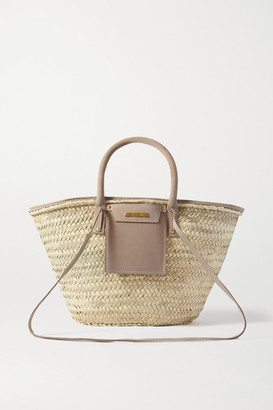 Jacquemus Soleil Suede-trimmed Straw Tote - Neutral