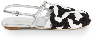 Prada Woven Metallic Leather Slingback Flats