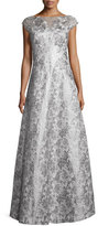 Kay Unger New York Cap-Sleeve Floral Metallic Ball Gown, Silver