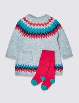 Marks and Spencer 2 Piece Knitted Dress with Tights