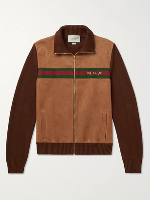 Gucci Horsebit Webbing-Trimmed Suede And Cotton-Jersey Bomber Jacket