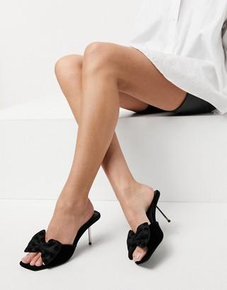 ASOS DESIGN Neha bow high heeled mules in black