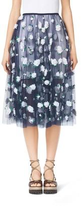 Michael Kors Floral-Embroidered Tulle Ballerina Skirt