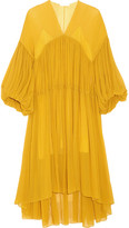 Chloé Tiered Silk-mousseline Midi Dress - Yellow