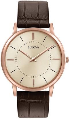Bulova Men's Classic Ultra-Slim Brown Alligator Embossed Leather Strap Watch, 40mm