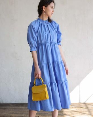 The Drop Women's Cornflower Blue Ruffle-Neck Midi Dress by @asahina_aya XS