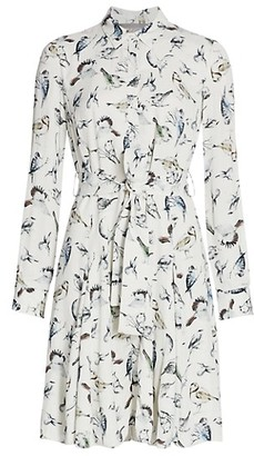Lela Rose Birds Of A Feather Printed Belt Shirtdress