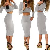 Bess Bridal Women's Sexy Two Pieces Bodycon Evening Skirt Stretch Party Bandage Dresses (, Grey)