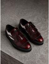 Burberry Two-tone Lace-up Kiltie Fringe Leather Shoes