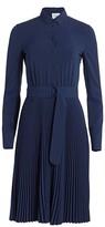 Akris Punto Belted Pleated Skirt Long-Sleeve Shirtdress