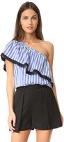 Milly Silk Stripe One Shoulder Top