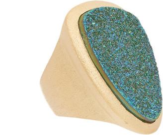 Rivka Friedman 18K Gold Clad Teal Druzy Quartz Ring