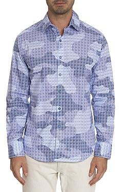 Robert Graham Courageous Cotton Camo Mosaic Tile Print Classic Fit Button-Up Shirt