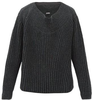Raf Simons Oversized Boat-neck Ribbed Sweater - Dark Grey