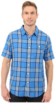 True Grit Indigo Surf Plaids Short Sleeve One-Pocket Shirt w/ Contrast Chambray