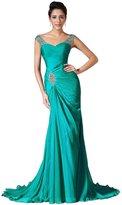 JYDress Women's Beading Chiffon Evening Dresses 2016 Sweep Train Prom Gown