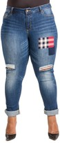 Plus Size Women's Poetic Justice Steph Plaid Patch Ripped Knee Jeans