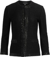 St. John Glittering Textured Stripe Knit Jacket