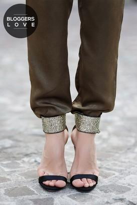 Little Mistress Black Glitter Cuff Two Strap Heels