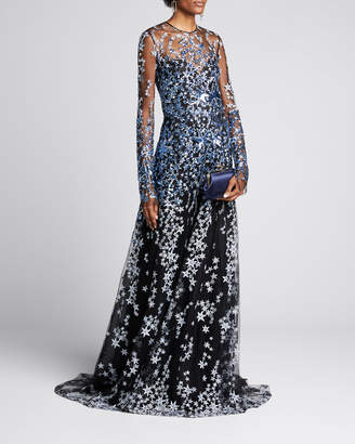 Naeem Khan Star-Embroidered Long-Sleeve Illusion Gown