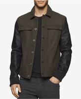 Calvin Klein Jeans Men's Leather-Sleeve Trucker Jacket