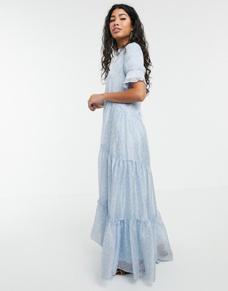 Sister Jane tiered maxi dress in ditsy vintage floral-Blue