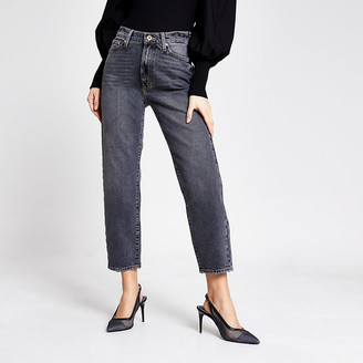 River Island Black washed Blair high rise straight jeans
