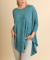 Umgee USA Teal Mineral Wash Hi-Low Tunic - Plus