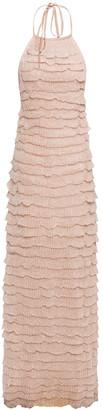 Missoni Tiered Metallic Knitted Halterneck Maxi Dress