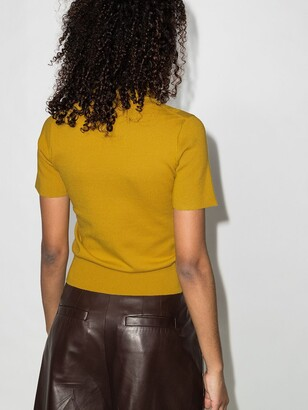 See by Chloe Yellow Knitted Frill Neck Top