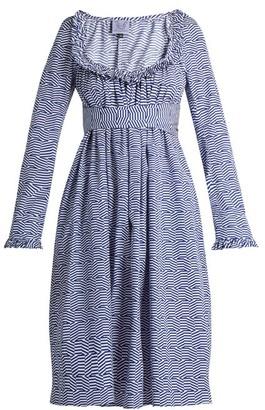 Thierry Colson Geometric Print Cotton Poplin Dress - Womens - Blue White