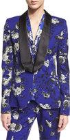 Prabal Gurung Shawl-Lapel One-Button Floral-Print Jacket, Cobalt
