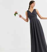TFNC Tall Tall Bridesmaid maxi dress with bow back in gray