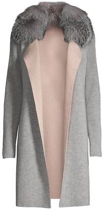Sofia Cashmere Fox Fur-Collar Cashmere Cardigan