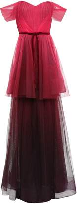 Marchesa Off-the-shoulder Pleated Degrade Tulle Gown