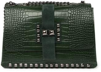 Persaman New York Mary Croc Embossed Leather Shoulder Bag
