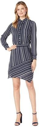Vince Camuto Long Sleeve Asymmetrical Hem Plain View Stripe Shirtdress (Caviar) Women's Dress