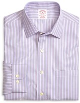Brooks Brothers Supima Cotton Non-Iron Regular Fit Lavender Stripe Twill Sport Shirt