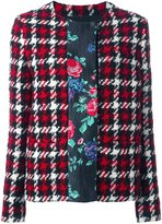 MSGM plaid contrast floral stripe jacket