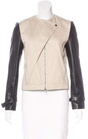 Jenni Kayne Leather-Trimmed Zip Jacket