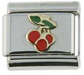 Sabrina Silver Stainless Steel 18k Gold Tripple Cherry Charm for Italian Charm Bracelets