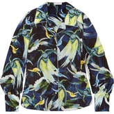 Erdem Fae Printed Silk Crepe De Chine Shirt - Midnight blue