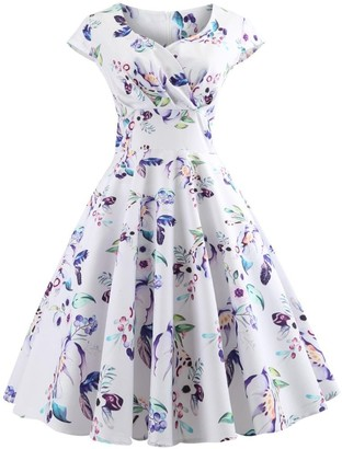 Lazzboy Women Vintage Sleeveless Printing V Neck Evening Party Prom Swing Dress(M