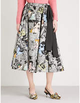 Prada Comic-print cotton midi skirt